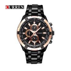Đồng hồ nam CURREN chính hãng dây thép ko rỉ Bạc mặt Trắng kim giả lịch style doanh nhân sang trọng + Tặng hộp đồng hồ (Đỏ / Đen)