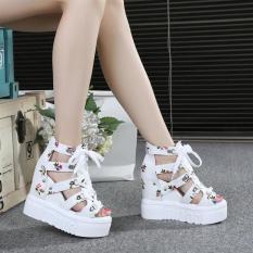 Giày Sandal hoa đế xuồng phong cách cá tính full size S087T (Trắng)