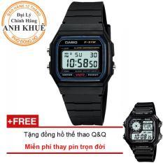 Đồng hồ dây nhựa huyền thoại Casio Anh Khuê F-91W-1DG + Tặng đồng hồ thể thao Q&Q