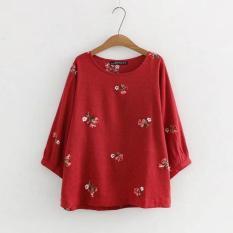 Áo Thun Rộng Vải Lanh Cotton Phong Cách Hàn Quốc Dành Cho Nữ