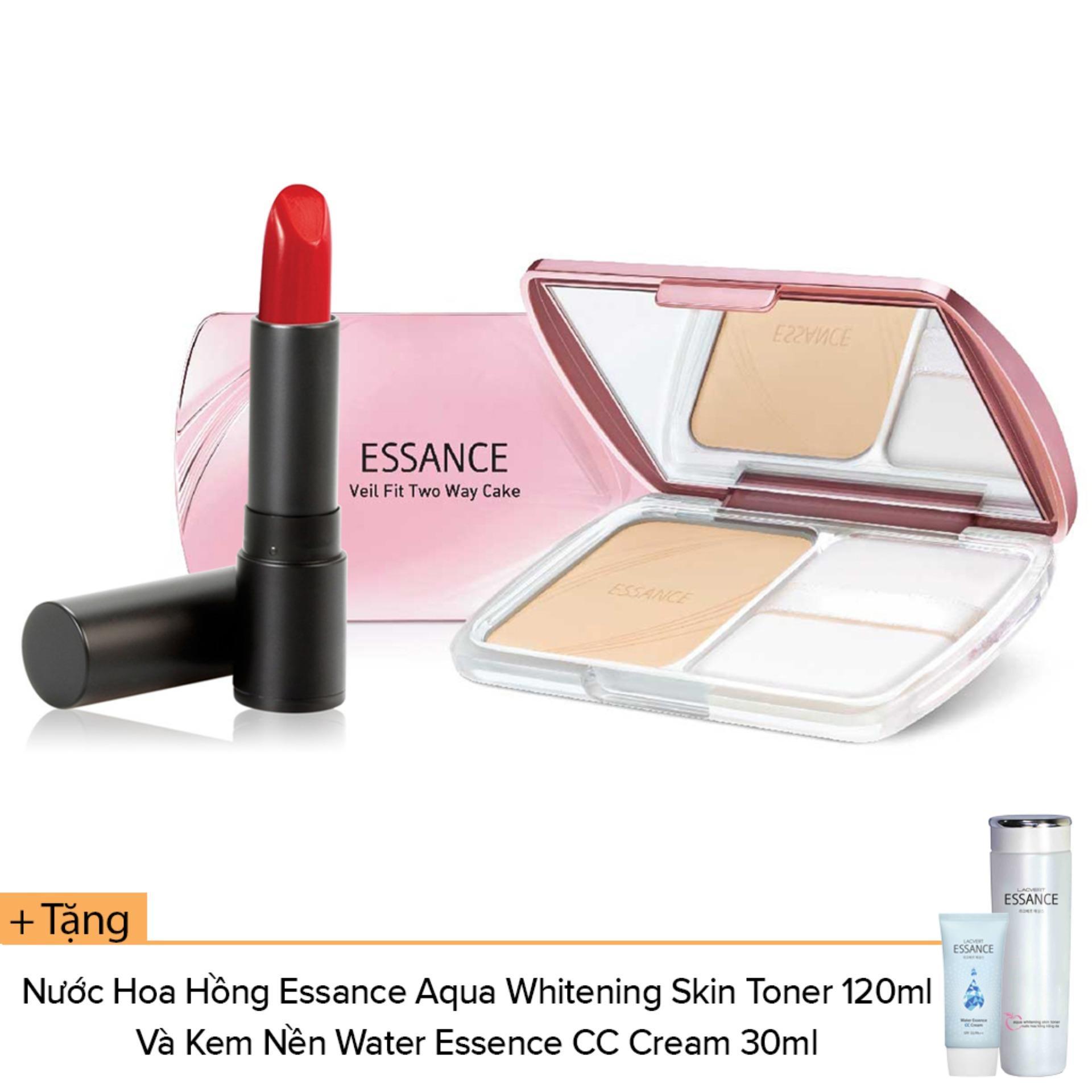 Bộ Mỹ Phẩm Son Lì Matte Lipstick #442, Phấn Phủ Siêu Mịn Veil Fit #13, Tặng Nước Hoa Hồng Trắng Da Aqua Whitening Và CC Cream #10
