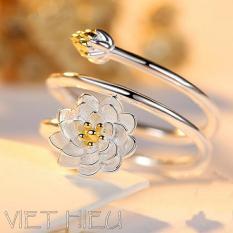 Nhẫn bạc nữ hình hoa sen (Phong cách Hàn Quốc 2018)
