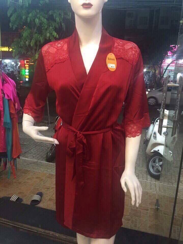 Áo choàng Satin lụa cao cấp size dưới 70kg (Đỏ đô)