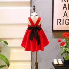 Váy bé gái màu đỏ nơ đen (M150)