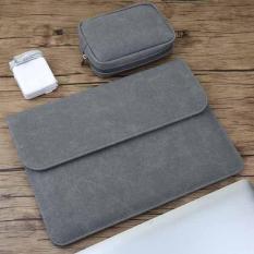 Bao da, túi da chống sốc cho macbook, laptop 13.3 inch (Cho Macbook Air 13.3 inch 2018/ Macbook Pro 13.3 inch đời 2016, 2017, 2018) kèm ví đựng phụ kiện
