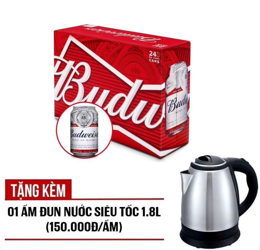 Budweiser lon 330ml – Thùng 24 – tặng kèm 01 ấm đun nước 1.8L