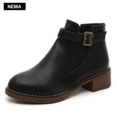 Giày chelsea boots nữ có đai Nema NM3758B-Đen