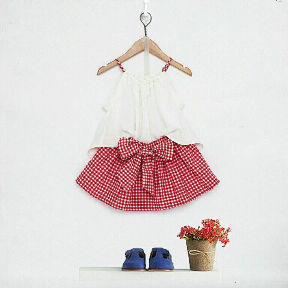 Set quần caro giả váy áo dây xinh iu cho bé gái