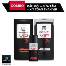 Bộ Dầu gội Romano VIP 180G + Sữa tắm VIP 180G + Xịt khử mùi VIP 150ML