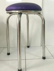Ghế đôn inox mặt đệm màu tím Inox An