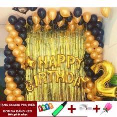 Combo Bóng chữ Happy Birthday + 2 rèm + Số tuổi + 50 bóng trang trí