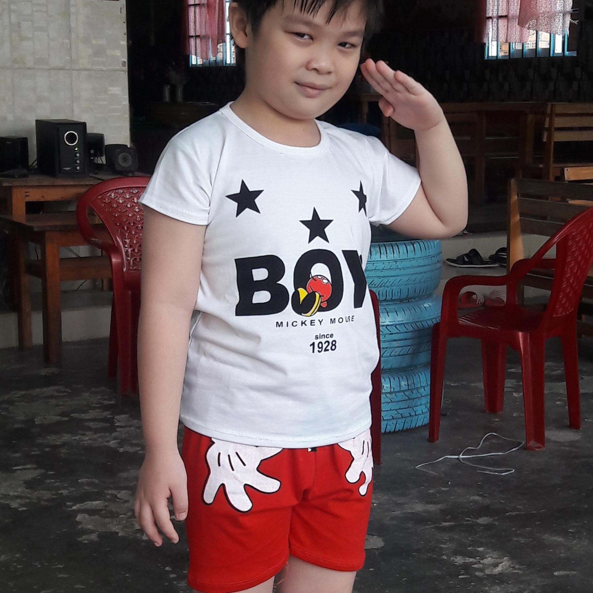 Bộ thun cotton boy( Trắng- Đen) bé trai từ 18kg đến 35kg