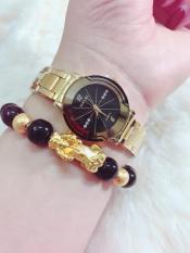 Đồng hồ nữ Halei dây thép TẶNG 1 vòng tỳ hưu phong thủy may mắn (dây vàng mặt đen)