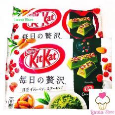 Bánh KitKat matcha berries hạnh nhân Nhật bản