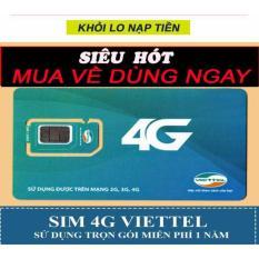 SIM 3G 4G VIETTEL D500 4GB/1 THÁNG x 12 tháng. trọn gói 1 năm không nạp tiền