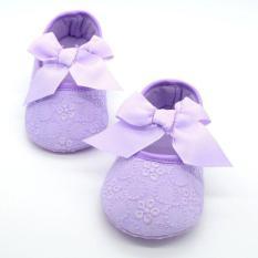 Giày nơ tập đi cho bé gái đế mềm họa tiết hoa xinh xắn