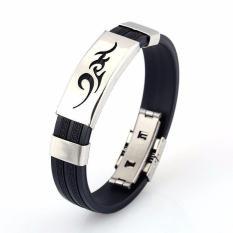 1 vòng đeo tay titan phong cách trẻ trung, cá tính cho nam/nữ (đen bạc free size)