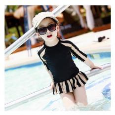 Đồ bơi croptop tay dài kẻ sọc sành điệu cho bé gái từ 6-8 tuổi