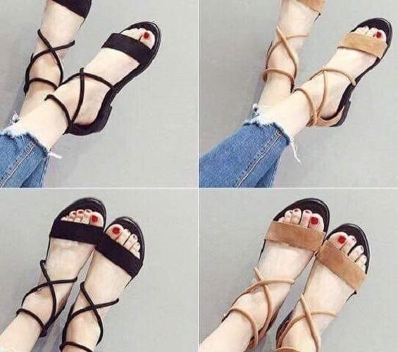 Giày sandal MYS nhung ngang dây chéo cổ chân