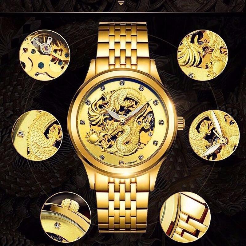 Đồng hồ nam SEWOR dây thép lộ máy cơ mặt hoạ tiết rồng vàng 3D sang trọng nam tính JS