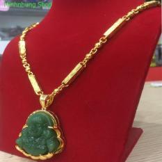Dây chuyền mạ vàng 24k – Vòng cổ Rồng mặt di lạc đá cẩm thạch xanh viền mạ vàng 4 lớp