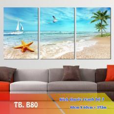 [Sale] Tranh Treo Tường Biển B80-2- Tranh treo tường 3D [Gỗ MDF cao cấp, chống ẩm mốc R1,2m C0,6m] Timilo Decor