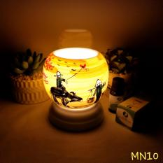 Đèn Xông Tinh Dầu Gốm Bát Tràng Size Nhỏ + Tặng 2 chai tinh dầu nguyên chất 5ml (Cam, Sả Chanh)