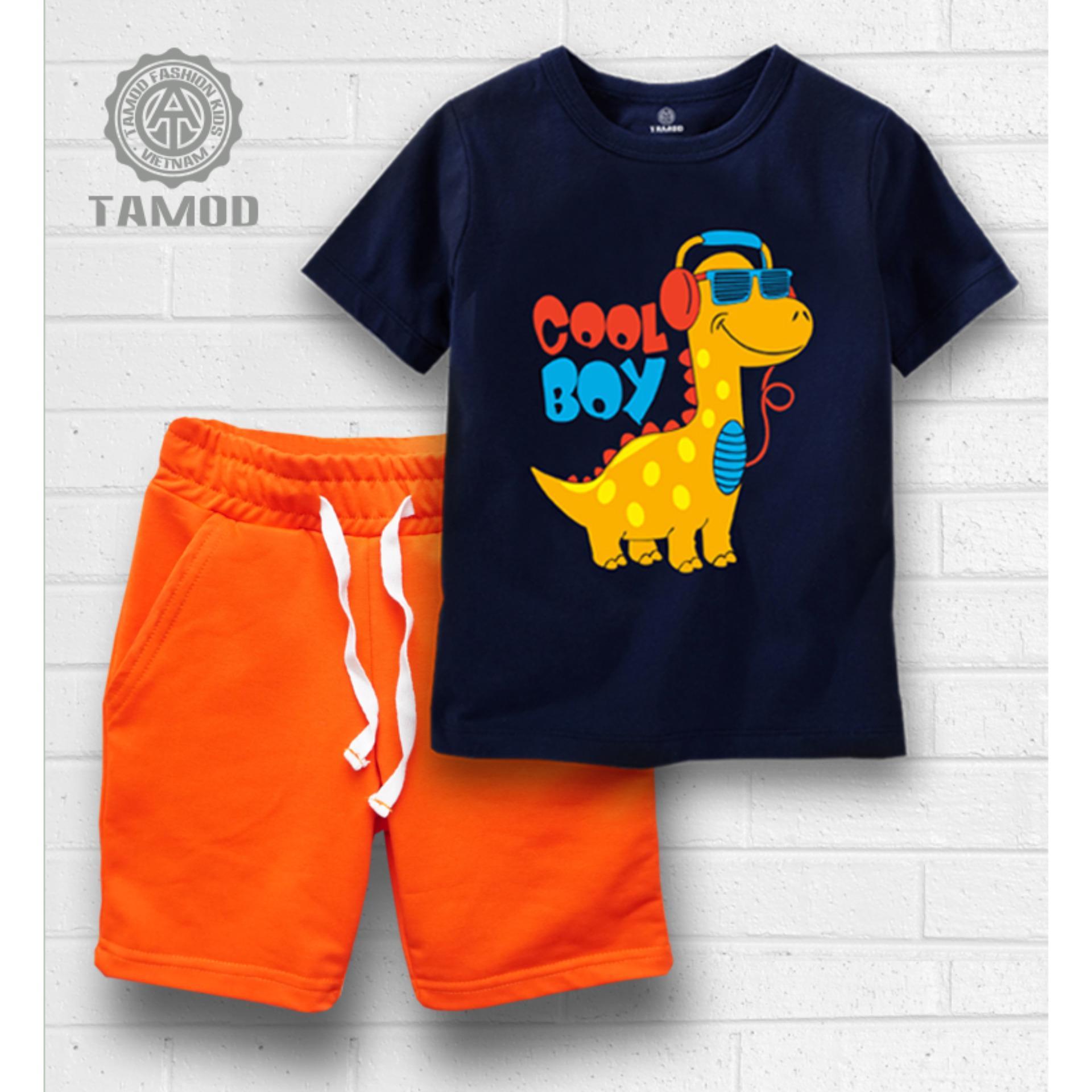Quần áo bé trai TAMOD in hình khủng long dễ thương.