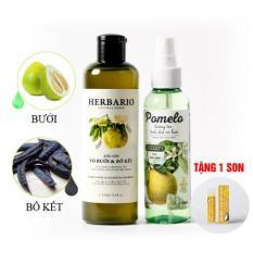 Liệu trình trị rụng tóc phục hồi tóc hư tổn 1 dầu gội HERBARIO và 1 dưỡng tóc POMELO tặng 1 son dưỡng COCOON