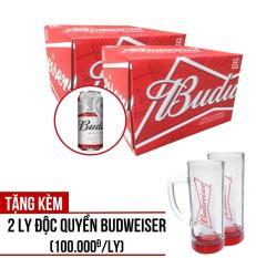 Bộ 2 Budweiser 500ml thùng 12 lon – Tặng kèm 2 ly Budweiser