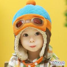 Mũ thu đông trẻ em Phi Công lót lông cho bé trai ML6