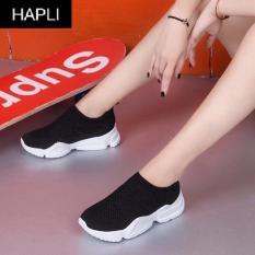Giày slip on nữ mới đế gồ cổ chun HAPLI (Đen, Trắng, Hồng)
