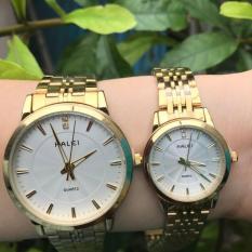 Cặp Đồng hồ Halei nam nữ cao cấp chống xước, chống nước tuyệt đối (Giá 1 đôi) dây vàng mặt trắng