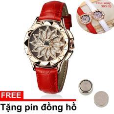 Đồng hồ nữ Sanda 9252 dây da màu đỏ mặt hoa xoay 360 cực hót