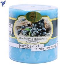 Nến thơm trụ tròn D6H6 Miss Candle MIC0826 6 x 6 cm (Xanh da trời, hương quả việt quất)
