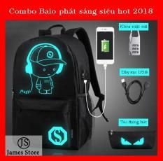 Combo 3 món Balo nam nữ phát sáng + Túi đựng bút phát sáng + Khóa mật mã James Store JSPS101