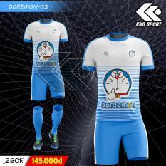 Bộ Áo bóng đá Doremon xanh trắng!