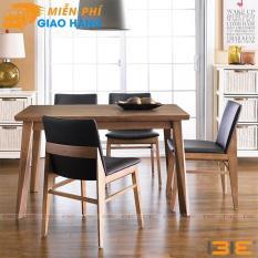 Bộ bàn ăn Zodax màu walnut 4 ghế
