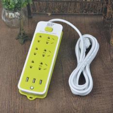 Ổ cắm điện kiêm sạc điện thoại (6 phích cắm, 3 cổng USB)