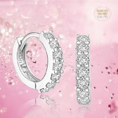 Hoa tai thời trang Hàn Quốc HK Bạc S925 khuyên tròn HT154 đính đá