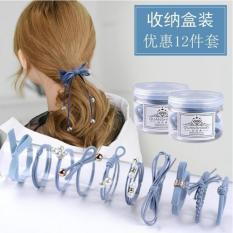 Sét 12 chun buộc tóc sang trọng kèm hộp tiên dụng