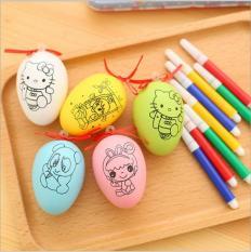 Combo 5 trứng tô màu cho bé (tặng kèm bút vẽ)