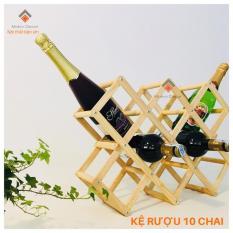 Kệ rượu gỗ xếp đựng 10 chai tiện lợi cho nhà Bếp