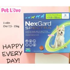 1 viên NexGard Spectra trị giun, ghẻ, viêm da, ve rận (chó 7,5 – 15kg)