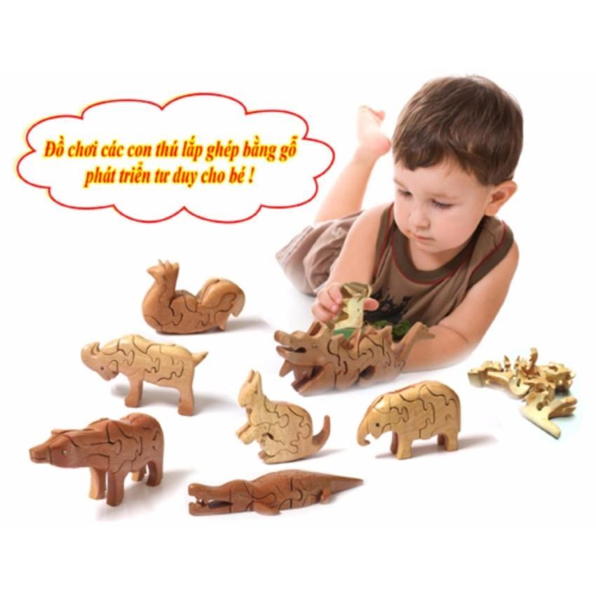 Thú gỗ lắp ghép 3D ( đồ chơi gỗ phủ sơn mài , mỹ nghệ Huế giao hàng ngẫu nhiên...