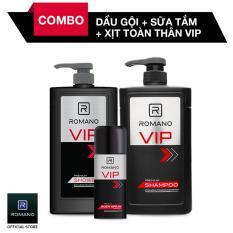 Combo Romano Sữa Tắm VIP 650gr + Dầu Gội VIP 650gr + Xịt ngăn mùi toàn thân VIP 150ml