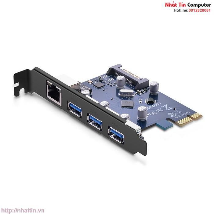 Card PCI Express sang 3 cổng USB 3.0 + Lan Gigabit 10/100/1000Mbps chính hãng Ugreen UG-30775 cho máy tính bàn