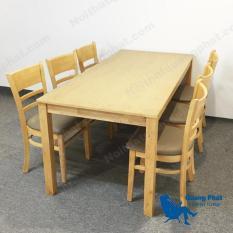 Bộ bàn ăn Curvy CB tự nhiên 6 ghế