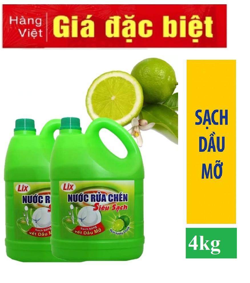 [Combo 2 ] Nước rửa chén Lix Siêu sạch hương Chanh can 4kg