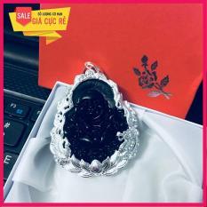 Mặt Phật đá phong thủy bọc bạc (đen) + tặng dây cao su charm bạc